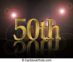 50th, anniversaire, fête, invitation