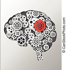 Vector illustration brain and gear.