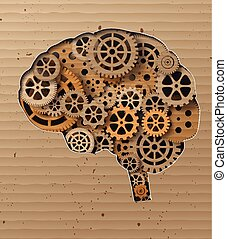 Human brain build out of cogs and gearsMade from Cardboard