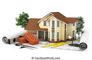 construction plan with house, wood and pencil, 3d