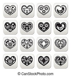 Folk hearts with flowers and birds - Vector buttons set of...