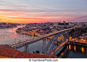 Portugal, Porto, Luis I Bridge on a sunset, the top view
