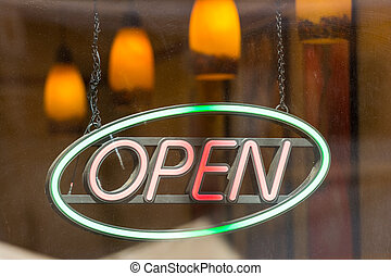 Open Store Sign In Shop Window