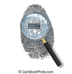 Identification concept. Magnifying glass over finger print with