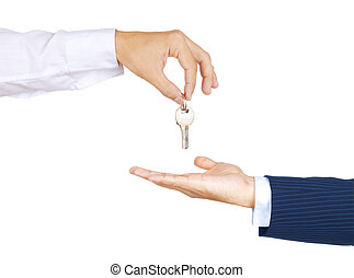 Handing key from one hand to anothe