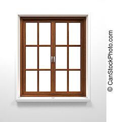 de madera, ventana,