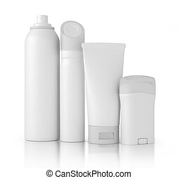 plastic bottles with liquid soap and shower gel isolated on...