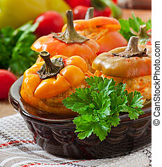 Stuffed peppers minced chicken with carrots with tomato...