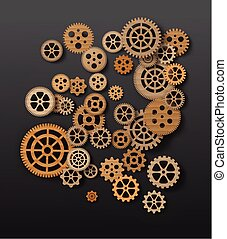 gearwheel mechanism background. Vector illustration - Vector...
