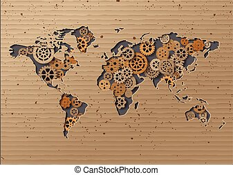 vector World map Brown Cardboard paper cut style