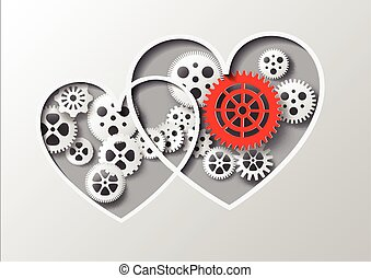 Vector illustration heart and gearpaper cut style