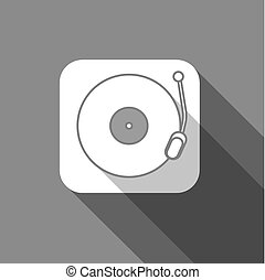 Flat long shadow trendy record player icon design