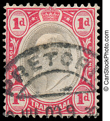 stamp printed in UK shows King George V - TRANSVAAL COLONY -...