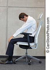 cadeira, exercitar, negócio, homem