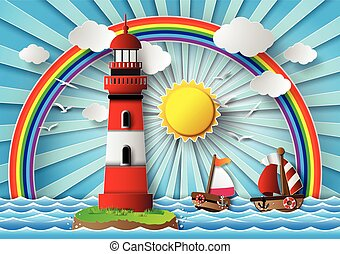 lighthouse and seascape - Vector illustration lighthouse...