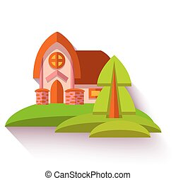 Illustration with cute house in flat style