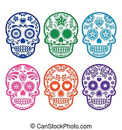 Mexican sugar skull colored - Vector icon set of decorated...