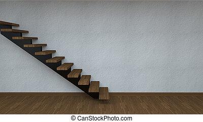 habitación, con, Escaleras,