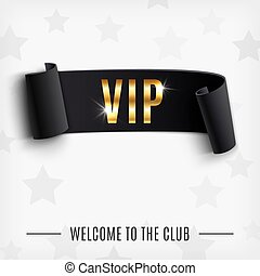 VIP background with realistic black curved ribbon. Vector...