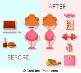 Vector illustration of diet result in flat style