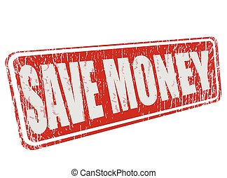save money grunge stamp with on vecto illustration