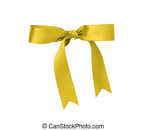 classic yellow ribbon bow, isolated on white