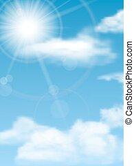 cloudscape, sun, sky