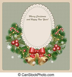 christmas invitation - Christmas wreath with bells, holly...