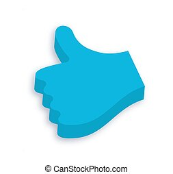 3d Like Button - Abstract Blue 3d LikeThumbs Up Vector Icon...
