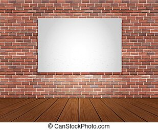brick wall and wood floor background - Red brick wall and...