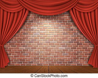 Red curtains on brick wall background