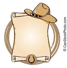 Cowboy hat and lasso.Vector American illustration - Cowboy...