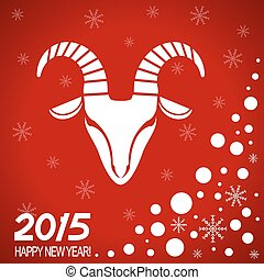 New year red card with goat - New Year card with symbol of...