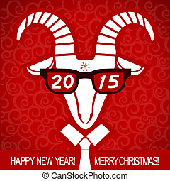 New year red card with goat and glasses.Vector business...