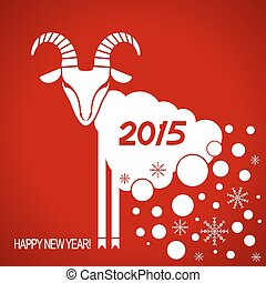 Vector New year red card with goat - New Year card with...