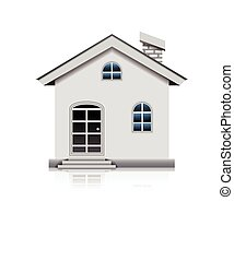 simple white house isolated - vector illustration of simple...