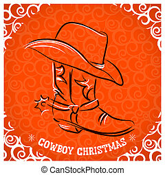 Western New Year with cowboy boot and western hat.Vector...