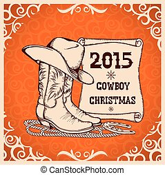 Western New Year greeting card with cowboy traditional...