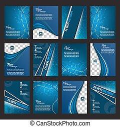 Set of flyer or cover design - Set of blue business flyer...