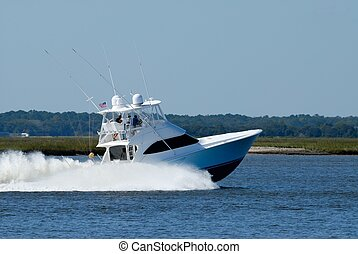 High Speed Yacht - High speed yacht on the river Florida,...