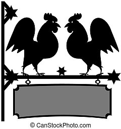 Fighting roosters sign - Two black rooster silhouettes that...