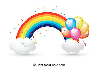 Celebration Balloons with Rainbow