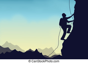 mountain climber - illustration, silhouette of a mountain or...