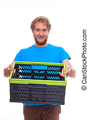 Men holding empty container box on white background - Man...