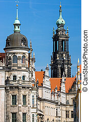 Towers in Dresden - Two of the many old towers of Dresden,...