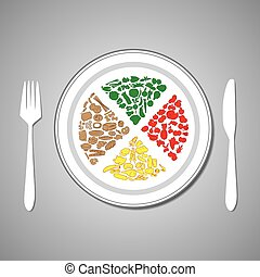 food plate - vector illustration of foods on plate