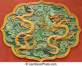 ceramic decoration with dragons on wall in Forbidden City in...