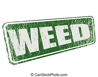 weed grunge stamp with on vector illustration