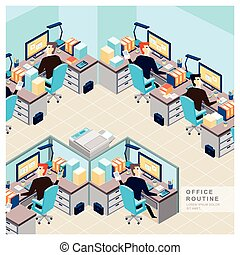 office routine view in flat design - office routine view...