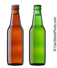 beers in bottle - two bottles of beer isolated on white